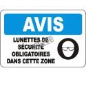 Affiche OSHA «Avis Lunettes de sécurité obligatoires dans cette zone» en français: langues, options. formats & matériaux variés