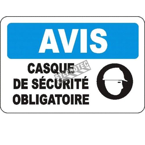 Affiche OSHA «Avis Casque de sécurité obligatoire» en français: langues, options, formats & matériaux variés