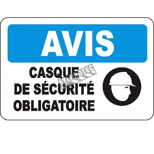 """French OSHA """"Notice Safety Helmet Mandatory"""" sign in various sizes, materials, languages & optional features"""