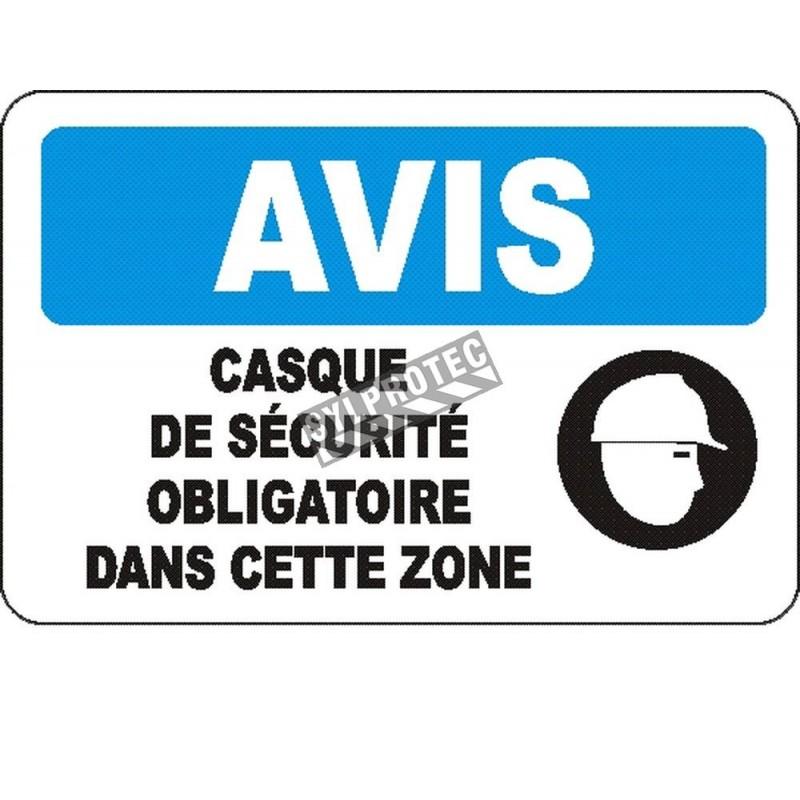 Affiche OSHA «Avis Casque de sécurité obligatoire dans cette zone» en français: langues, options, formats & matériaux variés