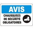 """French OSHA """"Notice Safety Footwear Mandatory"""" sign in various sizes, materials, languages & optional features"""