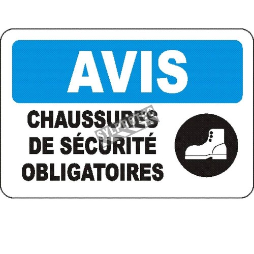 Affiche OSHA «Avis Chaussures de sécurité obligatoires» en français: langues, options, formats & matériaux variés