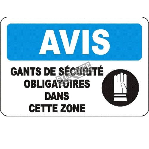 Affiche OSHA «Avis Gants de sécurité obligatoires dans cette zone» en français: langues, options, formats & matériaux variés