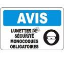 Affiche OSHA «Avis Lunettes de sécurité monocoques obligatoires» en français: langues, options, formats & matériaux variés
