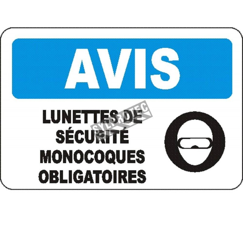 """French OSHA """"Notice Safety Goggles Mandatory"""" sign in various sizes, materials, languages & optional features"""