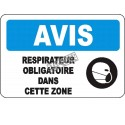 """French OSHA """"Notice Respirator Mandatory in this Area"""" sign in various sizes, materials, languages & optional features"""