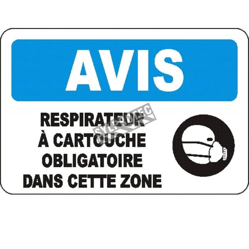 Affiche OSHA «Avis Respirateur à cartouche obligatoire dans cette zone»: langues, options, formats & matériaux variés