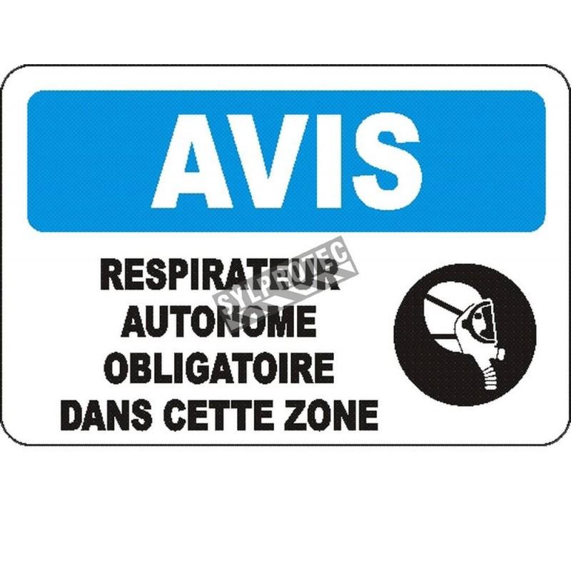 Affiche OSHA «Avis Respirateur autonome obligatoire dans cette zone» en français: langues, options, formats & matériaux variés