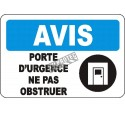 """French OSHA """"Notice Emergency Door Do Not Obstruct"""" sign in various sizes, materials, languages & optional features"""