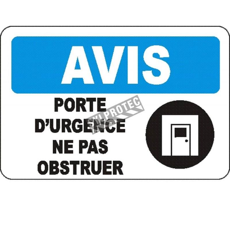 Affiche OSHA «Avis Porte d'urgence Ne pas obstruer» en français: langues, options, formats & matériaux variés