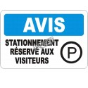 Affiche OSHA «Avis Stationnement réservé aux visiteurs» en français: langues, options, formats & matériaux variés