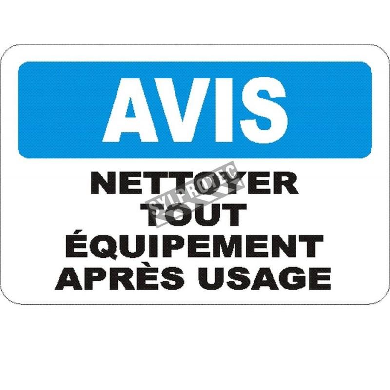 Affiche OSHA «Avis Nettoyer tout équipement après usage» en français: langues, options, formats & matériaux variés