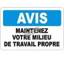 Affiche OSHA «Avis Maintenez votre milieu de travail propre» en français: langues, option,  formats & matériaux variés