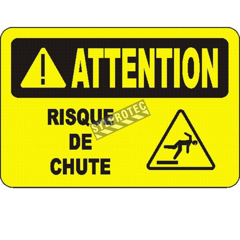 """French OSHA """"Caution Fall Hazard"""" sign in various sizes, materials, languages & optional features"""