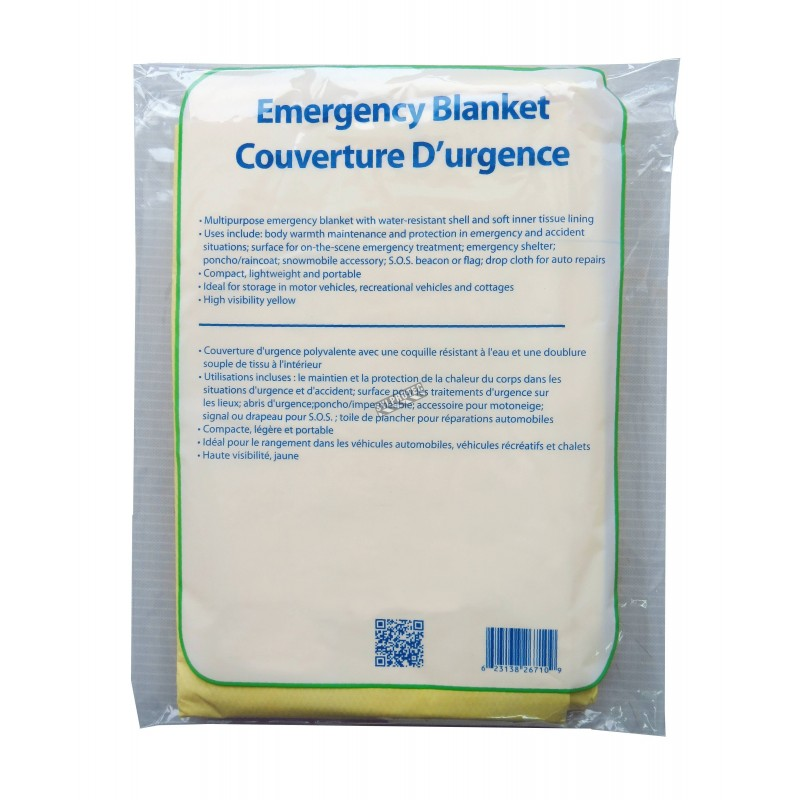 """Multipurpose emergency blanket made of tissue and poly, packaged individually. 56"""" x 88.5"""" (142 cm x 225 cm)."""