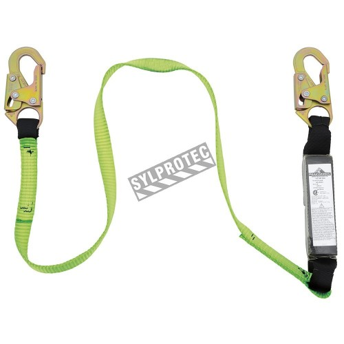 Peakworks polyester web lanyard with an energy absorber and 2 standard carabiners, 1 in.
