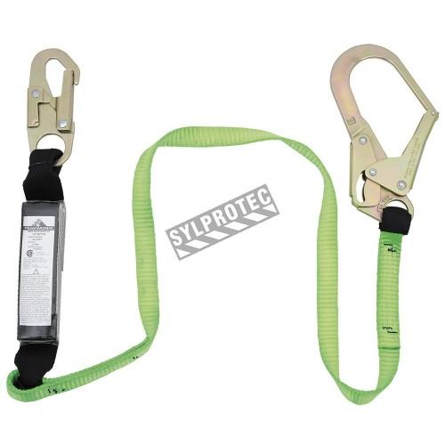 Longe avec un absorbeur d'énergie Shock Pack un mousqueton standard et un mousqueton pour tige d'armature, 110-220 lb