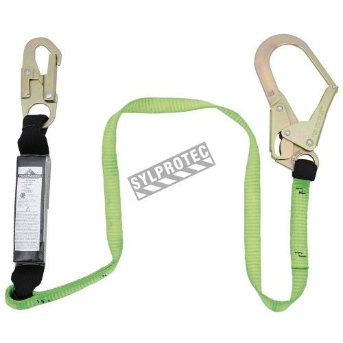 Peakwoks polyester web lanyard with a SoftPak energy absorber and a rebar hook, 1¾ in.