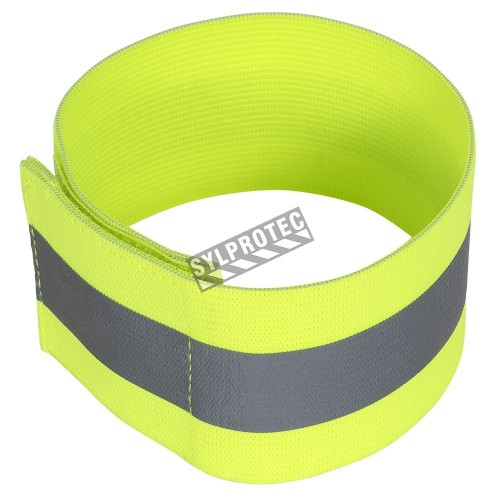 Brassard en polyester élastique jaune haute visibilité, fermeture autoagrippante, taille unique, 5 X 30.5 cm, par paire.