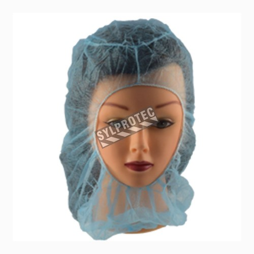 Easy Breezy disposable polypropylene blue balaclava-style hood, one size fit-all, sold by the case of 100 units.