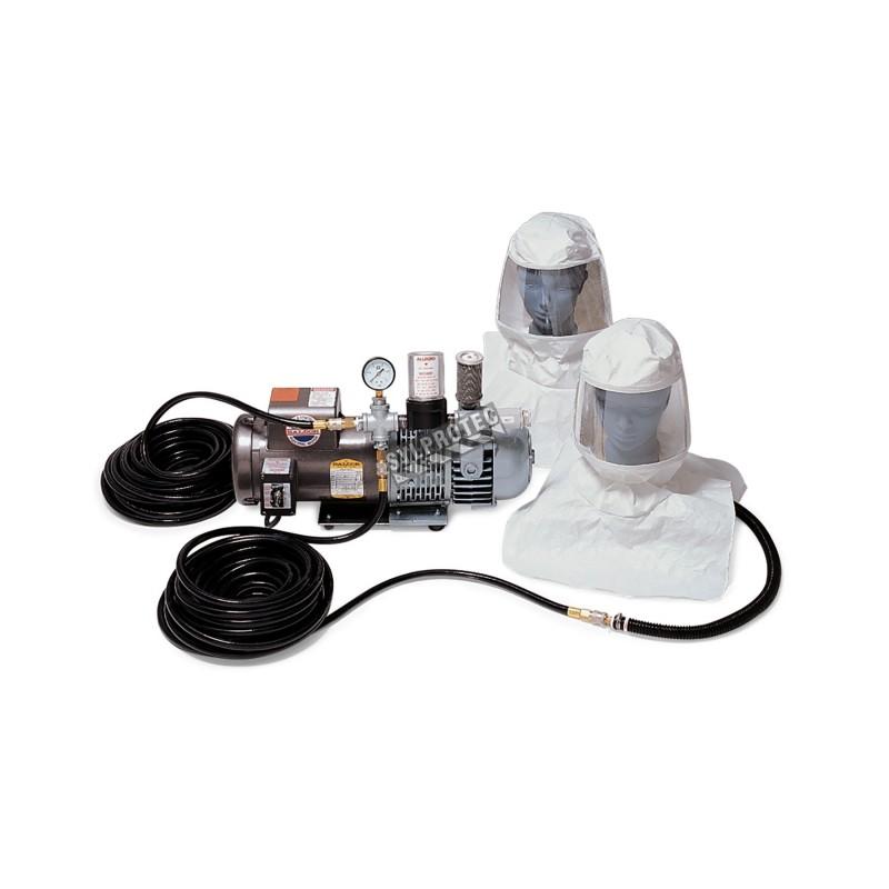 Ensemble de protection respiratoire avec cagoule et pompe à air ambiant pour une personne, de marque Allegro.
