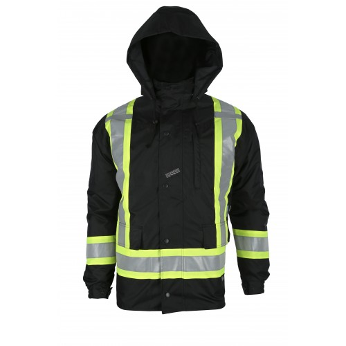 Low-visibility 7-in-1 winter coat, black with retroreflective stripes, CSA Z96-15 Class 1 Level 2.