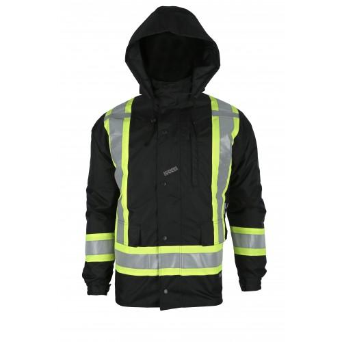 Manteau d'hiver basse visibilité 7-en-1 noir à bandes rétroréfléchissantes, CSA Z96-15 classe 1 niveau 2.