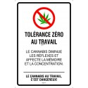 Affiche interdiction de fumer du cannabis au travail