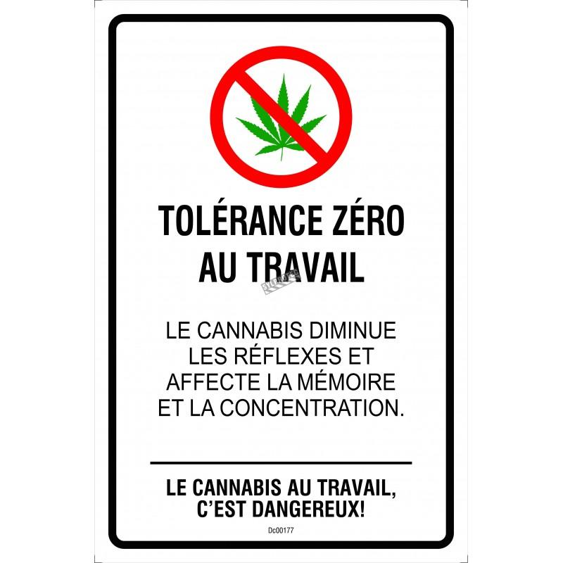 Affiche Tolérance Zéro au travail, 2 matériels disponibles : aluminium ou autocollant pour vitre.