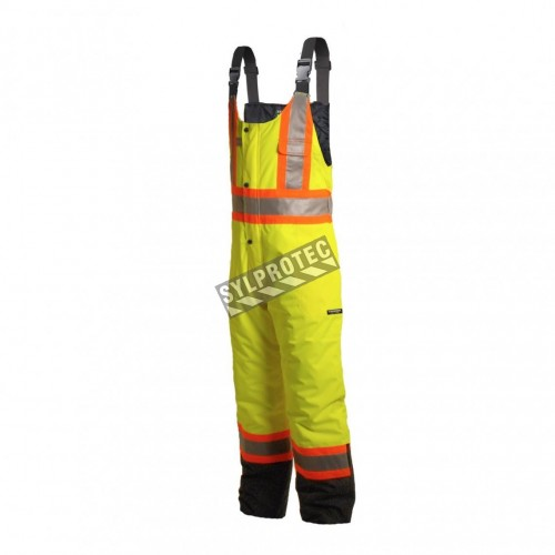 Yellow high visibility overalls with reflective tape