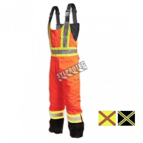 Orange high visibility overalls with fluorescent orange retroreflective stripes, CSA Z96-15 Class 2 Level 2.