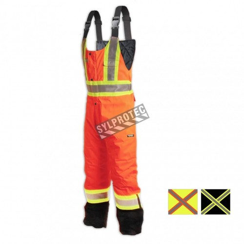 Orange high visibility overalls with reflective tape
