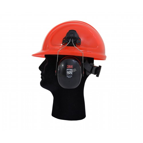 Earmuff PELTOR cap attached, 27 dB, Optime 105, made by 3M.