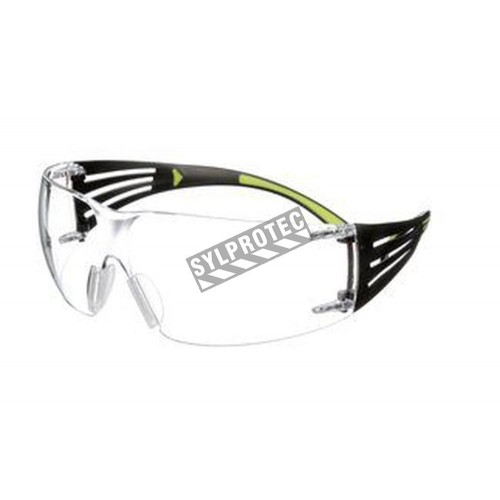 3M SF401SecureFit protective eyewear with anti-fog treated clear polycarbonate lenses with black temples w/ neon green accents