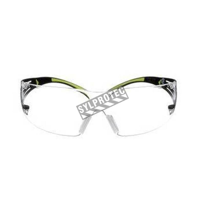 Lunette de sécurité SecureFit SF401 pour protection oculaire de 3M. Lentille claire antibuée avec monture noir et vert