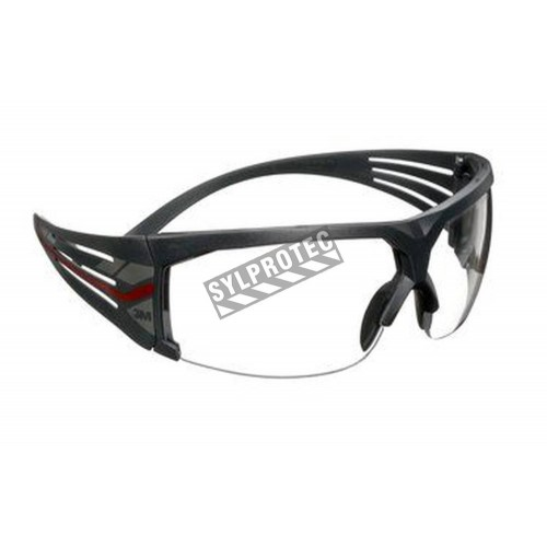 3M SF601 SecureFit protective eyewear with anti-fog treated clear polycarbonate lenses with grey temples w/ red accents
