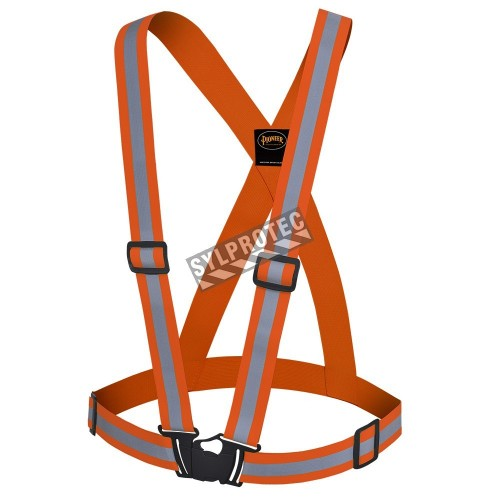 Economical hi-viz traffic sash, fluorescent orange with retroreflective stripes, one size.