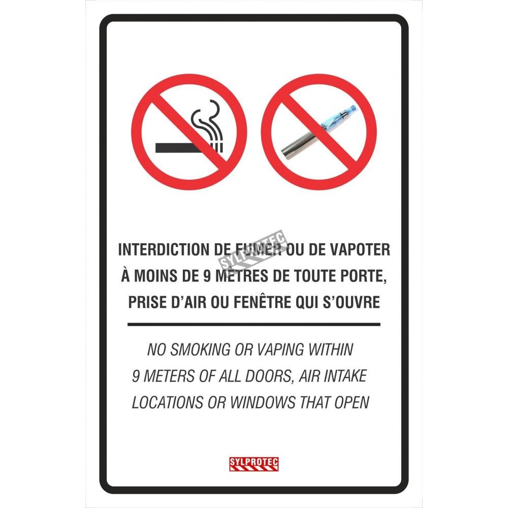 affiche bilingue interdiction de fumer ou de vapoter. Black Bedroom Furniture Sets. Home Design Ideas