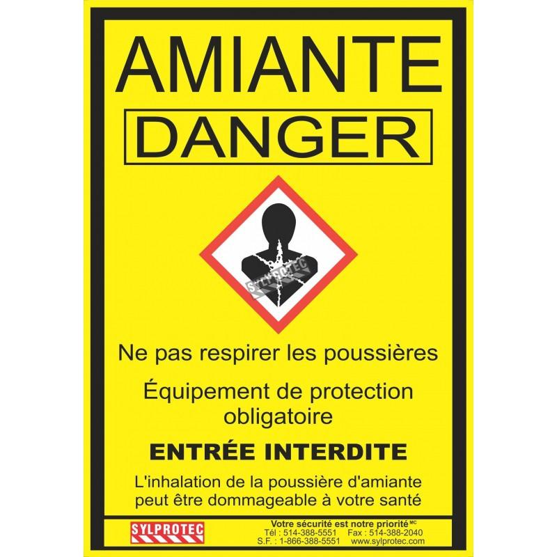 """Affiche réglementaire et obligatoire pour les chantiers où il y a de l'amiante au Québec. 14""""x18.5"""". En français seulement."""