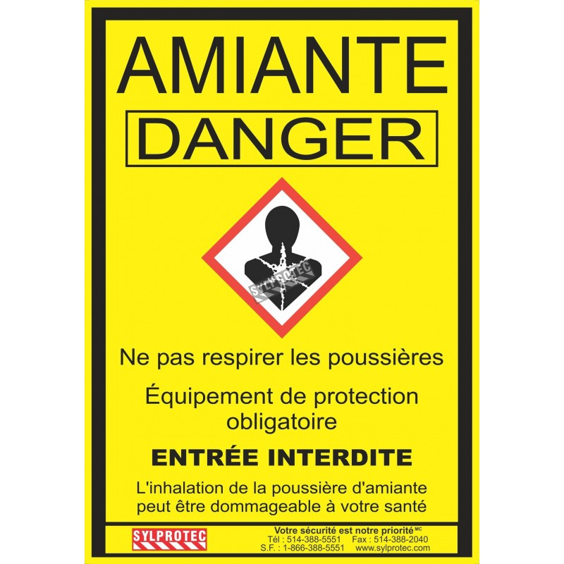 """Statutory & compulsory sign for Quebec construction sites involving asbestos related activities. 14""""x18.5"""". Only in French."""