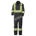 Black flame-resistant cotton safety coverall HRC 2 with high-visibility reflective stripes compliant CSA Z96-15