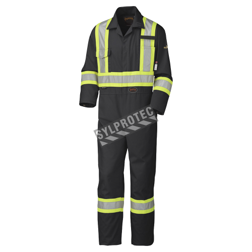 Black 100% flame-resistant cotton safety coverall, HRC 2, with high-visibility reflective stripes, compliant CSA Z96-15.