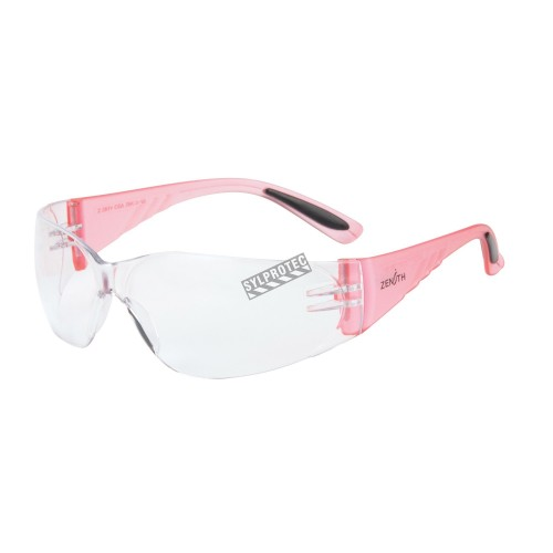 Woman protective eyewear pink whit clear polycarbonate lenses. CSA approved for impact protection.