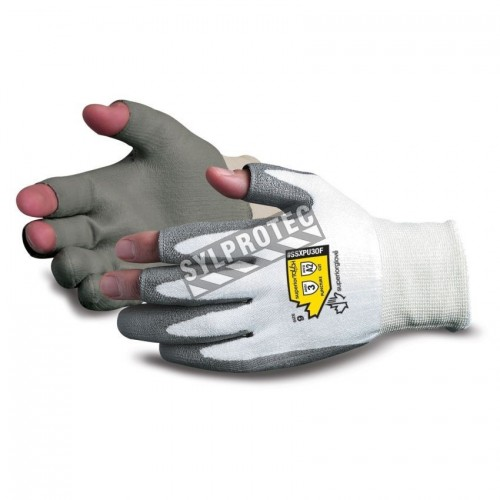 Open-finger glove with Dyneema® cut level A2, polyurethane palm-coated. Sold in pairs.
