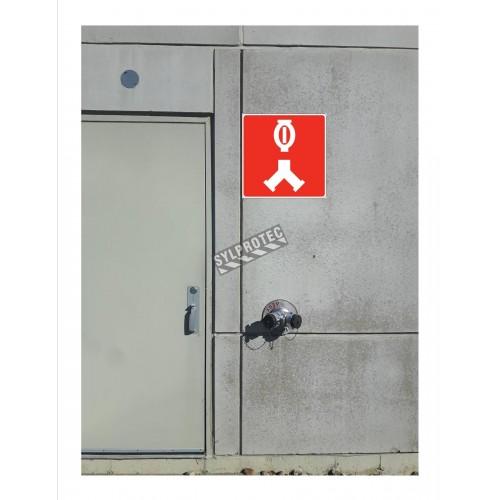 Affiche d'incendie en aluminium pour raccord-pompier double (siamois) & système de gicleurs automatiques
