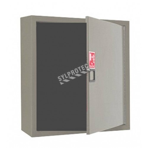 Surface-mounted cabinet with solid metal door, for 75 to 100 ft fire hose and 5 to 10 lbs extinguisher.