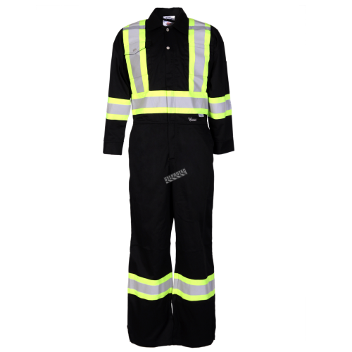 Black coveralls with reflective stripes.
