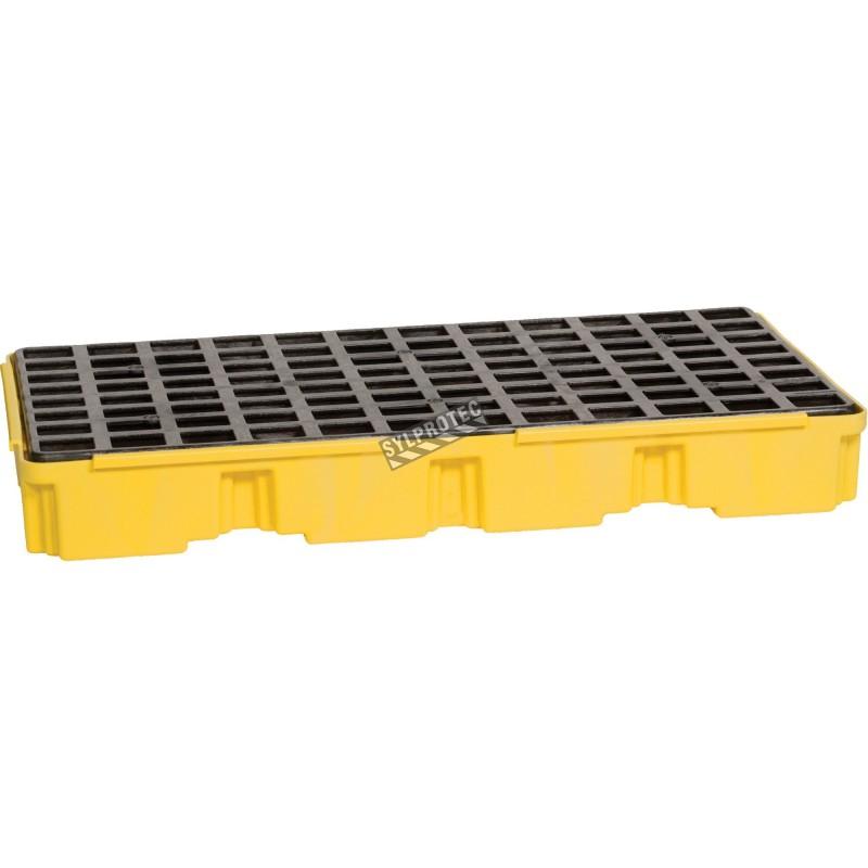 Plateforme de rétention pour contrôle des déversements, pour 2 barils, capacité 24 gallons US (91 litres).