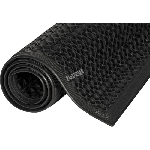 Black carpet 1/2 in.  made of vulcanized rubber with cylindrical flow openings and rising grooves.