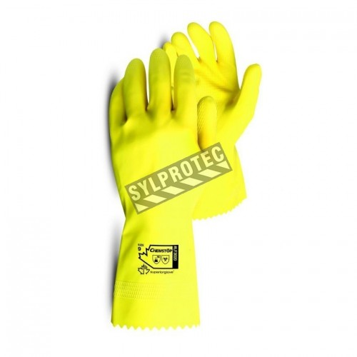 Natural yellow rubber latex unsupported textured & flock-lined safety glove. 12 in long and 16 mils thick.